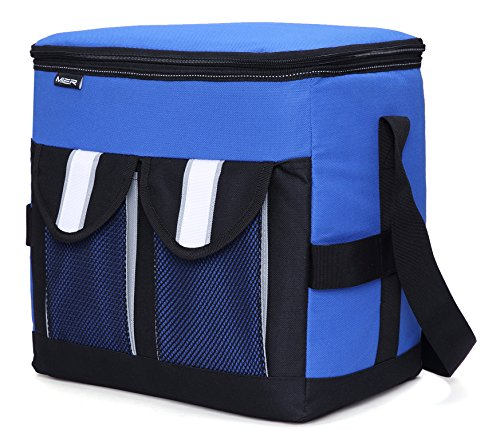 MIER 30Cans Collapsible Soft Cooler Bag Insulated Picnic Lunch Bag for Adult, Men, Women, Leakproof Liner, Blue, Large by MIER (Image #1)
