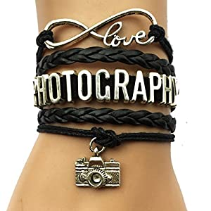 DOLON Infinity love Photography Bracelet Camera Charm Vintage Wrap Leather Hobby Jewelry