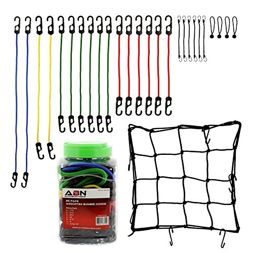 ABN Bungee Cords with Hooks 24-Piece Assortment with 1 FREE BONUS Small Cargo Net – Bungee Cord Tie Down Straps and Net