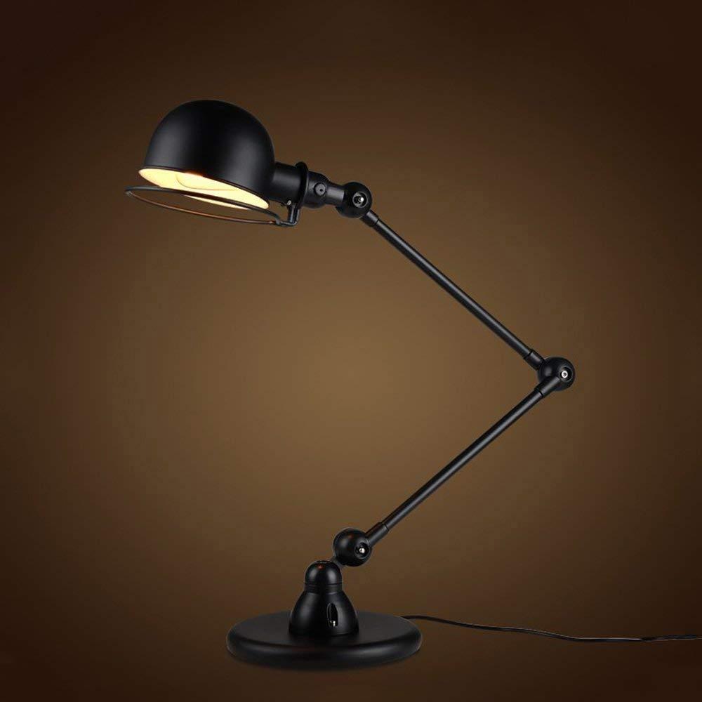 XHJJDJ Swing Arm Schreibtischlampe, Tischlampe, zusätzliche LED-Lampe, Metallstruktur, verstellbare Schattenposition, Architekt Lampe für Büro Home   Dorm-schwarz