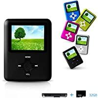 Lecmal MP3 / MP4 Player, Economic Multifunctional Music Player Portable MP3 / MP4 Player with 32GB Micro SD Card Mini USB Port - Voice Recorder Media Player Flash Disk, Best Gift for Kids ( Back)