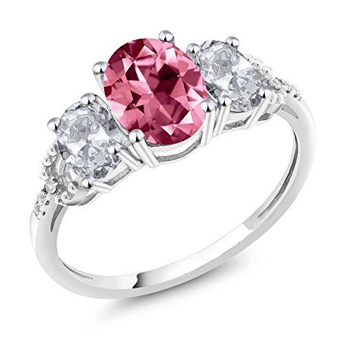 10K White Gold Diamond Accent Three-Stone Engagement Ring Set with Oval Pink Topaz from Swarovski (Set Stone Diamond Pink)