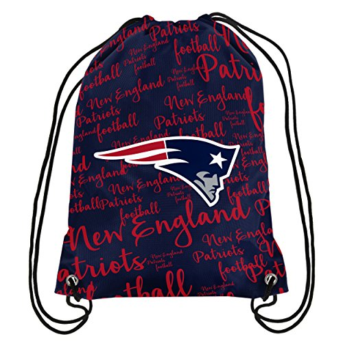 FOCO NFL New England Patriots Script Drawstring Backpack, Team Color, One Size