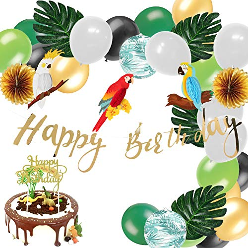 Jungle Theme Party Decoration Tropical Summer Paper Parrot Honeycomb Happy Birthday Banner Glitter Gold Cake Topper Palm Leaves Latex Balloons, Easy Joy, All in One Pack (Green) ()