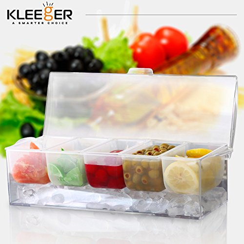 Kleeger Chilled Condiment Server With Lid: 5 Removable Compartments, Bottom Fills With Ice by KLEEGER (Image #8)