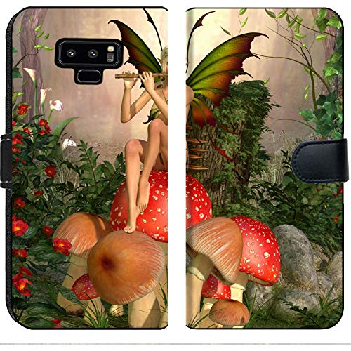 Color Custom Flutes (Luxlady Samsung Galaxy Note 9 Flip Fabric Wallet Case ID: 39833396 Elven Beautiful Woman in Fairytale Forest Sits on a Mushroom and Plays on flut)