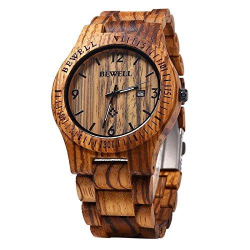 Bewell W086B Mens Wooden Watch Analog Quartz Lightweight Handmade Wood Wrist Watch by BEWELL
