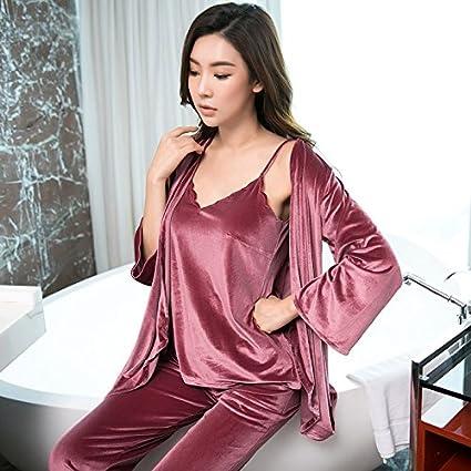 Syksdy Nuevo Invierno Mujer Pijama 3 Piezas Tops Pantalones + + Bata Pijama Establece Las Mujeres