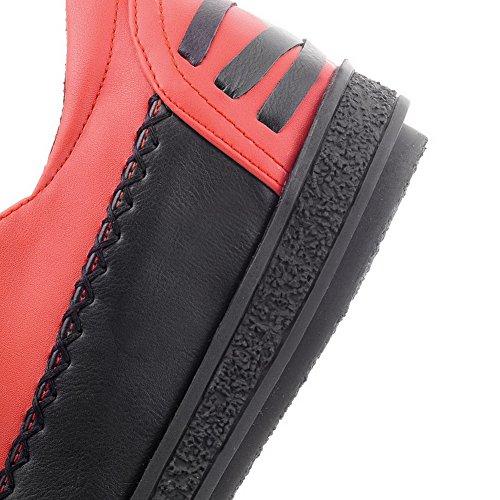 Flats PU con vendaje Womens rojo Toe sólidas sólido Bombas Material Round VogueZone009 RIHatq