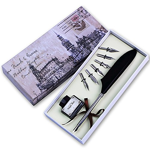 Quill Pen,Luxury Quill Pen and Ink Set (Silver) by UE Fashion (Image #9)