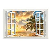3D Sunset Beach Landscape Sea Fake windows Wall Stickers Removable Wall Sticker For Livingroom bedroom (Sunset beach 23.6x35.4 inch)