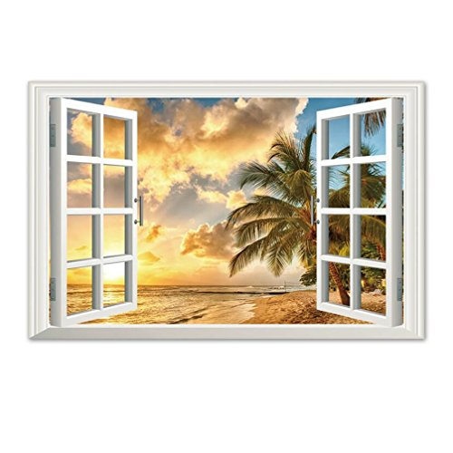 Sunset Ocean Decal Beach Seascape Fake Windows Wall Stickers Removable Faux Windows Wall Decal Landscape Wall Decor For Livingroom Bedroom 23.6x35.4 (Sunset Ocean)