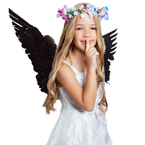 Interlink Angel Feather Wings Costume Party Cosplay Butterfly Style Xmas For Kids Black Color (Halloween Costume For Adults Uk)