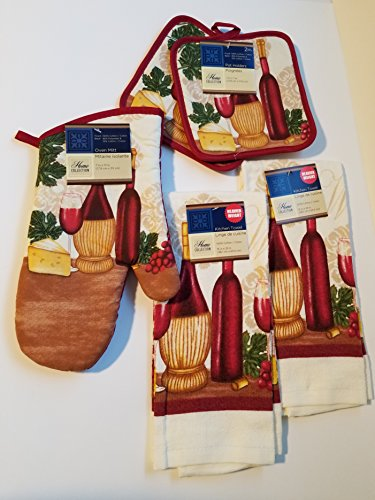 Home Collection Wine Theme 5 Piece Kitchen Linen Set Includes: 1 Oven Mitt, 2 Pot Holders and 2 Dish Towels