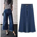Henraly 82 Plus Size Wide Leg Pants Female Ankle-Length Pant Elastic Waist Elastic Large Size Women Cowboy Trousers Blue XXXL