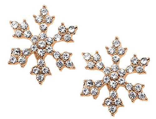 Sparkling Crystal Snowflake Stud Earrings Christmas Winter Bridal Fashion Jewelry (Rose Gold) (Winter Earrings Snowflake)