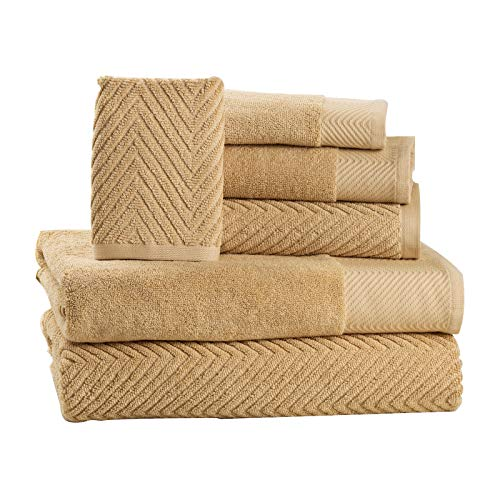 ISABELLA CROMWELL 6 Piece Cotton Bath Towels Set – 2 Bath Towels, 2 Hand Towels, 2 Washcloths Machine Washable Super Absorbent Hotel Spa Quality Luxury Towel Gift Sets Chevron Towel Set – Beige