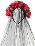 Jovitec Rose Headband Floral Crown Flower Veil Headpiece for Day of The Dead Halloween Costume (Burgundy)