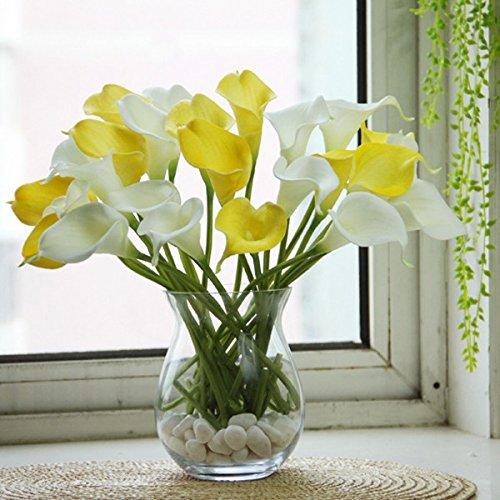 Zereff オーナメント花瓶 造花 10個 人工ラテックス カラリリー 花 結婚式 花 ブライダルブーケ レッド ZRF-D996C362EBD43CFB07A3572F7655BFB2 B07H7FRV6V レッド
