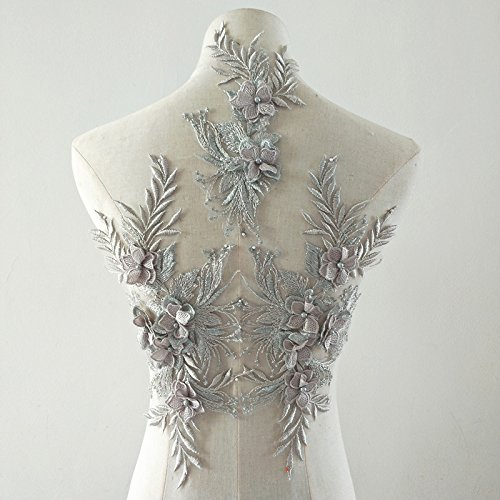 Beaded Flower Sequence lace Applique Motif Sewing Bridal Wedding 3in1 A5 3D (Silver) ()