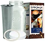 Cold Brew Coffee Maker - 2 Quart - Make Amazingly Rich Cold Brew Coffee with this Classic Ball Mason Jar and Durable Stainless Steel Filter