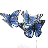 Factory Direct Craft Group of 6 Artificial Colorful Rich Blue Monarch Butterflies on Pick for Floral Embellishing, Crafting, and Creating