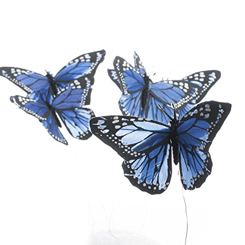 Factory Direct Craft Group of 6 Artificial Colorful Rich Blue Monarch Butterflies on Pick for Floral Embellishing, Crafting, and Creating by Factory Direct Craft