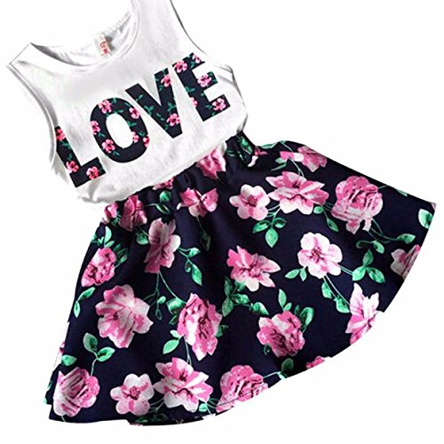 HOT Sale!! 2-7 Years Old Girls Love Letters Printed Vest Floral Dress,Ankola Two Pieces Set Clothes Children Skirt Suit (Navy-Sleeveless, 6-7Y)]()