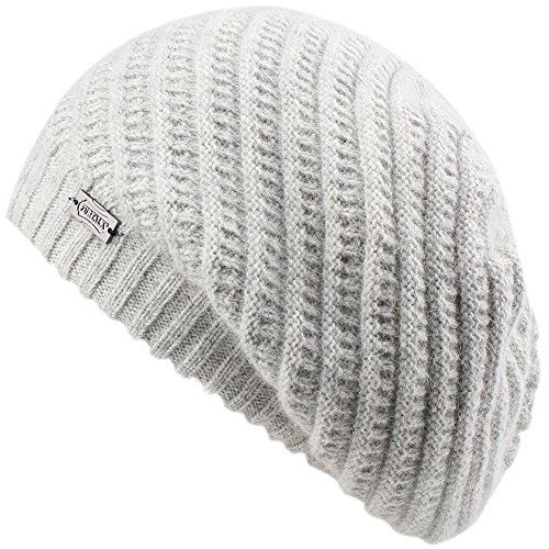 FURTALK French Beret Knit Hat Angora Wool Winter Beanie Cap Real Fur Pom Pom Hats Original (Light Grey)