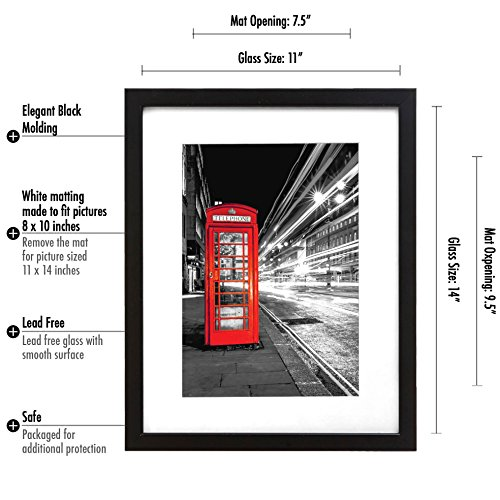 2-Pack-11×14-Black-Picture-Frame-Made-to-Display-Pictures-8×10-and-85×11-with-Mat-or-11×14-Without-Mat-Wide-Molding