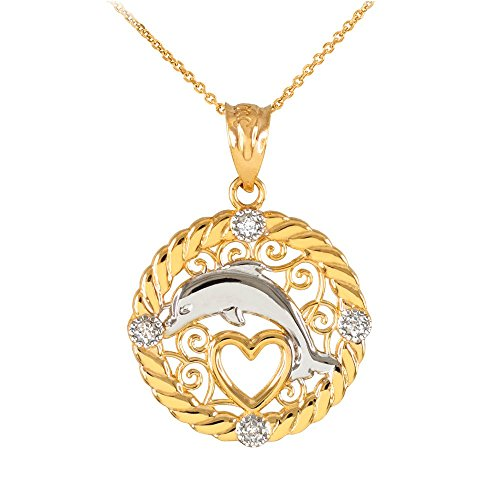 14k Yellow Gold Diamond Roped Filigree Charm Dolphin Open Heart Pendant Necklace, -