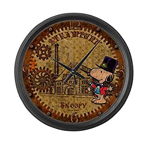 CafePress Steampunk Snoopy Large 17″ Round Wall Clock, Unique Decorative Clock