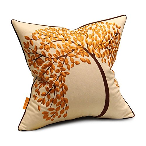 New Arrival - OJIA Elegant Home Decorative Cotton Embroidered Throw Pillow  Cover Cushion Case, The Tree of Life (18 Inch x 18 Inch, Autumn)