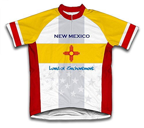 ScudoPro New Mexico Flag Short Sleeve Cycling Jersey for Men - Size XL Blue