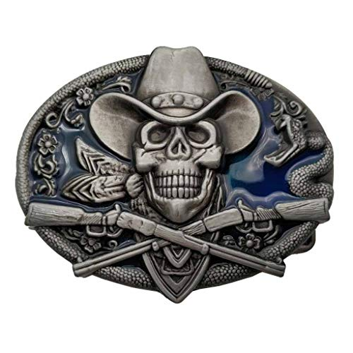 Western Cowboy Skull Pirate Rifles Belt Buckle Blue