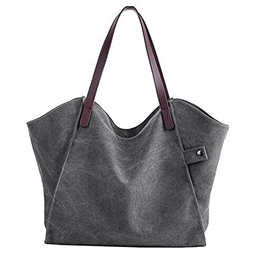Shoulder Shopper Top Canvas Womens Tote Large Purse Hobo Bag Grey Fanspack Handbags Bag Handle xYqfwBq4