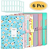 Selizo 6 Pcs Expanding File Folder with 5 Pockets Document Organizer Plastic A4 Size and 168 Pcs File Folder Labels for School Teacher and Office