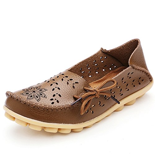 Ifashion Women's Drivers Hollow Out Carving Loafers Moccasins Slipper Pumps Causal Flats Boat Shoes Brown gUvNa9o