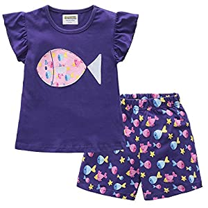 Fiream Girls Cotton Clothing Sets Summer Shortsleeve Unicorn T-Shirts Shorts 2 Pieces Clothing Sets