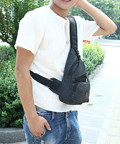 Canvas Chest Pack Crossbody Casual Sling Shoulder Bag(502) (black) by STIUCCE (Image #6)