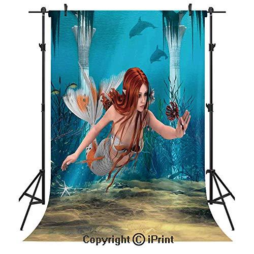 Sienna Burnt 6 Light - Mermaid Photography Backdrops,Lifelike Mermaid Holding a Sea Lily Magic Aquatic World Theme,Birthday Party Seamless Photo Studio Booth Background Banner 6x9ft,Light Blue Burnt Sienna Yellow