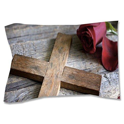 Cross and Rose Pillow Sham, Standard by Pixsona