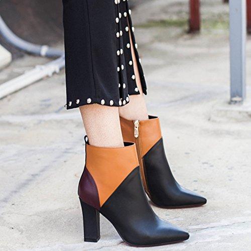 gruesa black Capa tacón alto color empareja de cuero de botas que Somersault de awxwqUdF