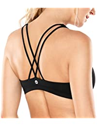 Womens Light Support Cross Back Wirefree Removable Cups Yoga Sport Bra