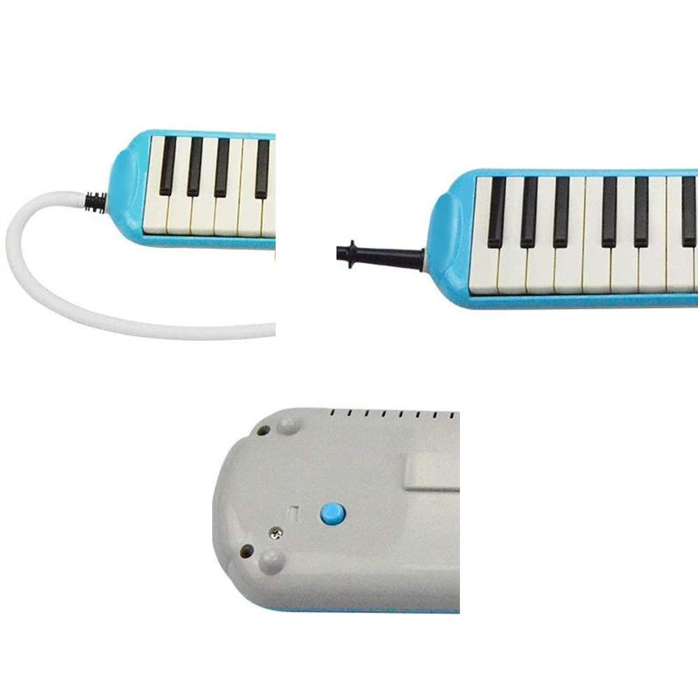 Melodica Musical Instrument Durable Educational Kids 32 Keys Portable Pianica Melodica Musical Instrument With Carrying Bag Gift Toys For Music Lovers Beginners Mouthpieces Tube Sets Blue for Music Lo by Shirleyle-MU (Image #4)