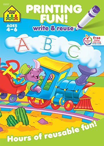 School Zone - Printing Fun! Write and Reuse Workbook - Ages 4 to 6, Preschool through Kindergarten, Tracing Letters, Pre-Writing, Wipe Clean (School Zone Write and Reuse Book Series)