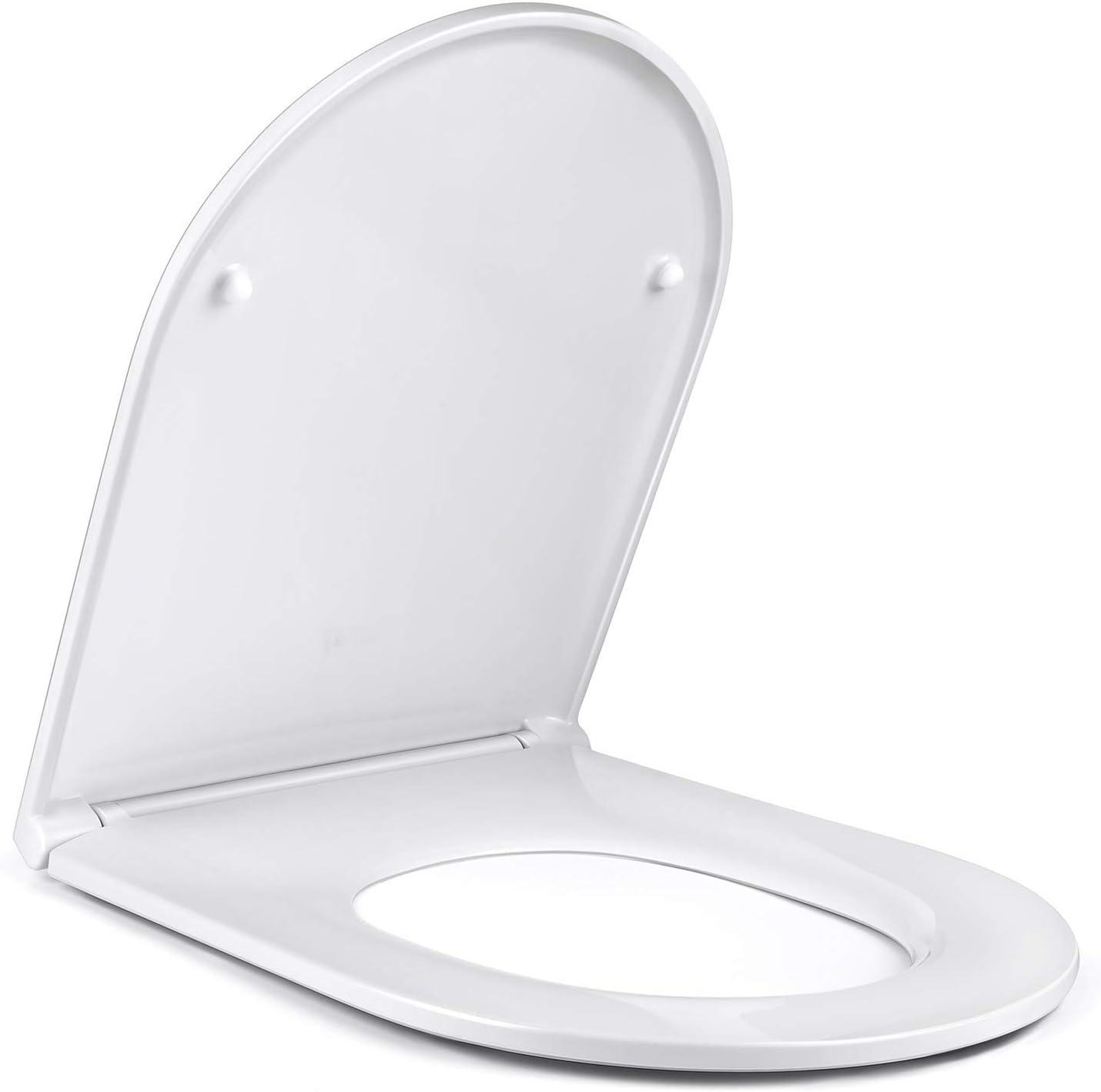 Calcolo Asina Sedili WC Chiusura Ammortizzata Oval Coprivaso con Clip Standard Copriwater per Famiglia