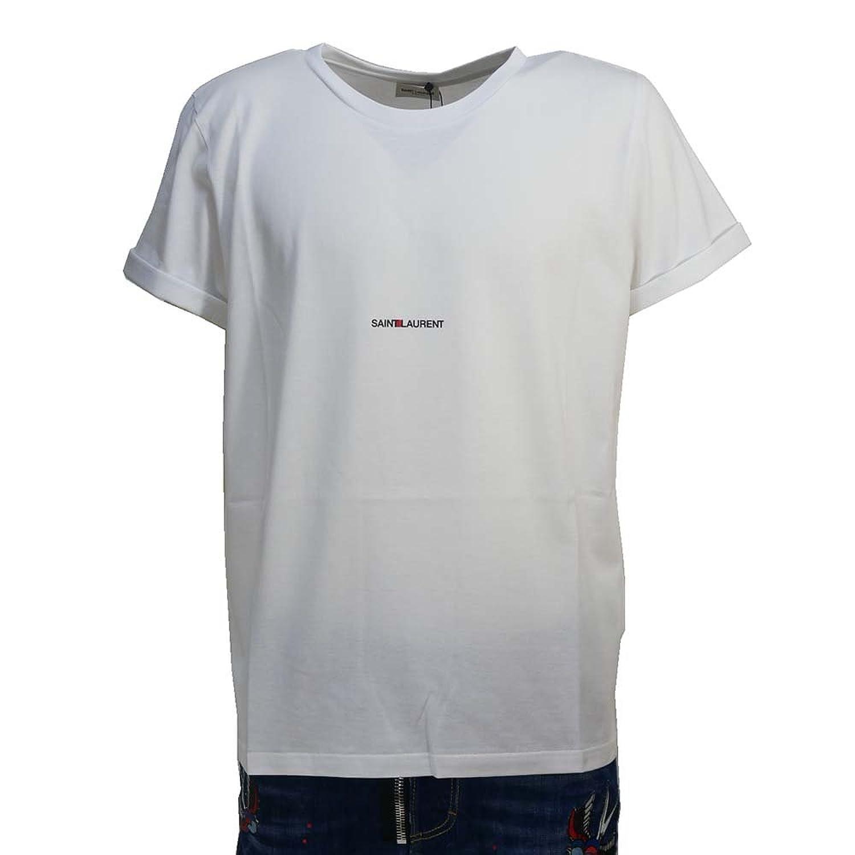 (サンローラン) SAINT LAURENT 半袖Tシャツ ロゴプリント 切りっぱなし加工(バックのみ)464572-YB2DQ-9000 ホワイト 【並行輸入品】 B07D67RWNM