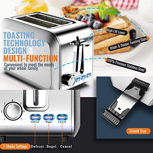 Toaster 2 Slice Stainless Steel 2 Slice Toasters Best Rated Prime Wide Slot for Bagel, Defrost, Cancel Function with Removable Crumb Tray Salted Salad
