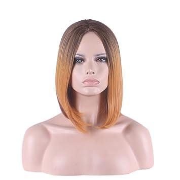 Hrph Naturales pendiente de Brown peluca corta recta de la Mujer Bob peluca a prueba de